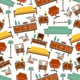 Seamless retro home furniture pattern background Stock Photos