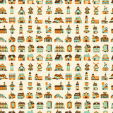Seamless retro house pattern Royalty Free Stock Photos