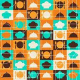 Seamless retro kitchen pattern Stock Photos