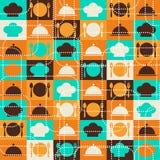 Seamless retro kitchen pattern Stock Photos