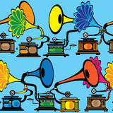 Seamless retro multicolor gramophone Royalty Free Stock Images