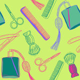 Seamless retro pattern with accessories for shaving Royalty Free Stock Images