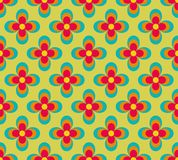 Seamless retro pattern with blue and red flowers Royalty Free Stock Images