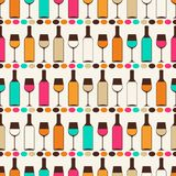 Seamless retro pattern with bottles of wine and Royalty Free Stock Photo