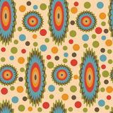 Seamless retro pattern with circles - Illustration. Bright retro seamless pattern on a yellow background Royalty Free Stock Photography
