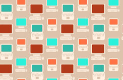 Seamless retro pattern with flat laptops and computers Royalty Free Stock Photo