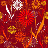 Seamless retro pattern with flowers Royalty Free Stock Photo