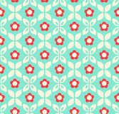 Seamless retro pattern with flowers and leaves Stock Photography