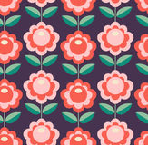 Seamless retro pattern with flowers Royalty Free Stock Image
