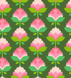 Seamless retro pattern with flowers Royalty Free Stock Photos