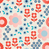 Seamless retro pattern with flowers. Vector illustration royalty free illustration