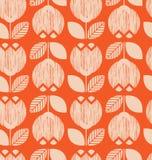 Seamless retro pattern with flowers Stock Photo