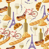 Seamless retro pattern in french style with food. Royalty Free Stock Image