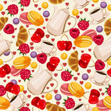 Seamless retro pattern in french style with food and coffee. Stock Photos