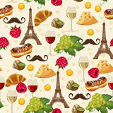 Seamless retro pattern in french style with food and wine. Stock Images