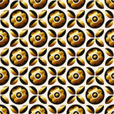 Seamless retro pattern with golden flowers and leaves Stock Images
