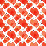 Seamless retro pattern with hearts and dots background Stock Photos