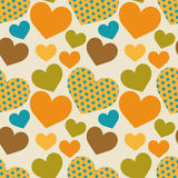Seamless retro pattern with hearts vector illustration
