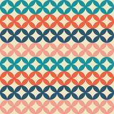 Seamless retro pattern. Intersecting circles. Multicolored geome. Tric shapes. Duplicate background. Orange, blue, coral and marine stock illustration