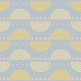 Seamless retro pattern with large halved disks in pastel colors. Seamless retro geometric pattern with large halved disks. Disco style vector print in pastel Stock Illustration