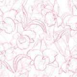 Seamless retro pattern with orchid. Hand drawn illustration of a new shabby chic embroidery motif with flowers Stock Photos
