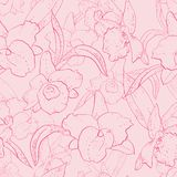 Seamless retro pattern with orchid. Hand drawn illustration of a new shabby chic embroidery motif with flowers Stock Photography