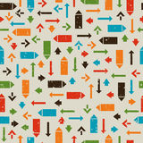 Seamless retro pattern with pointers, arrows Stock Images
