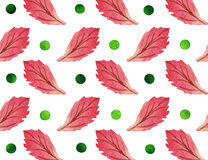 Watercolor retro pattern with polka dots and leaves stock images