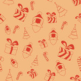 Seamless retro pattern with santa,gift boxes, and trees Royalty Free Stock Photos