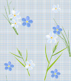 Seamless retro pattern of small flowers and grass Royalty Free Stock Photography
