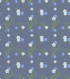 Seamless retro pattern of small flowers and grass Stock Photos