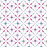 Seamless retro pattern with stars and geometrical elements backg Stock Photo
