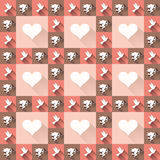 Seamless retro pattern. Texture with amore and birds. Royalty Free Stock Photos