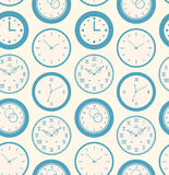Seamless retro pattern texture with round clocks Stock Photo