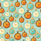 Seamless retro pattern with watches in flat style Royalty Free Stock Images