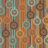 Seamless retro pattern with watches in flat style Royalty Free Stock Photos