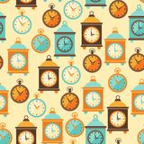 Seamless retro pattern with watches in flat style Stock Photo