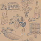 Seamless retro pattern of wine making Stock Photography