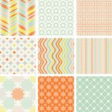 Seamless retro patterns collection Royalty Free Stock Photo