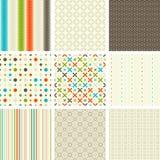 Seamless retro patterns collection Stock Photos