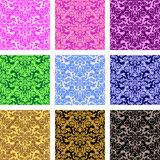 Seamless retro patterns - set of nine variants. Is presented Stock Photo