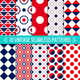 Seamless retro patterns set Stock Photos
