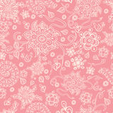 Seamless retro pink floral background, vector. Cute vector seamless pink floral background. The  pastel doodle flowers on the  pink background, great as a Stock Photos