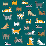Seamless retro pixel cat pattern Stock Photos