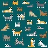 Seamless retro pixel cat pattern. Vector Stock Photos