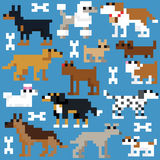 Seamless retro pixel dog pattern Stock Photos