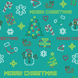 Seamless retro pixel game Christmas  pattern Royalty Free Stock Photos