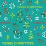 Seamless retro pixel game Christmas  pattern. With various icons Royalty Free Stock Photos