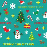 Seamless retro pixel game Christmas  pattern. With various icons Stock Images