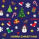 Seamless retro pixel game Christmas  pattern. With various icons Royalty Free Stock Photo